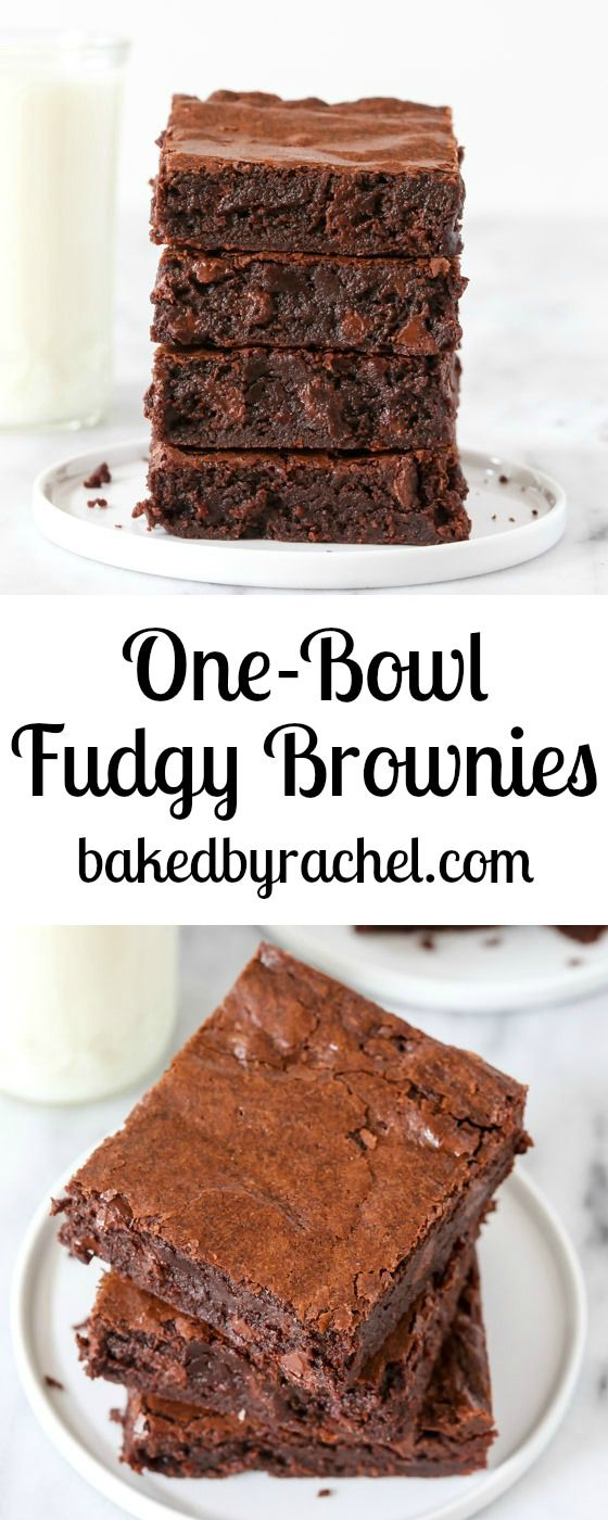 Super fudgy homemade one-bowl triple chocolate brownie recipe from @bakedbyrachel