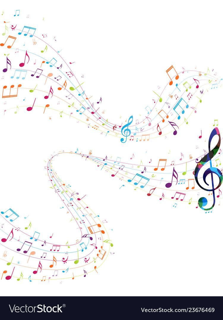 Colorful Music Notes Background Vector Image On Vectorstock Music Notes Background Music Notes Music Coloring