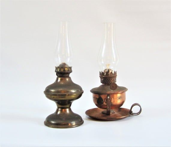 VICTORIAN PEWTER AND COPPER OIL LAMP