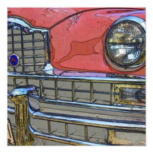 Classic car grille as art invitations