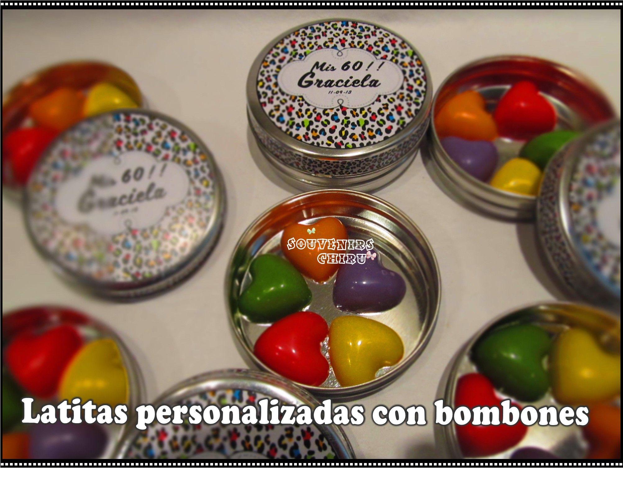Souvenirs Personalizados, latas personalizadas. Pastilleros personalizados, con bombones. chiru.souvenirs@hotmail.com