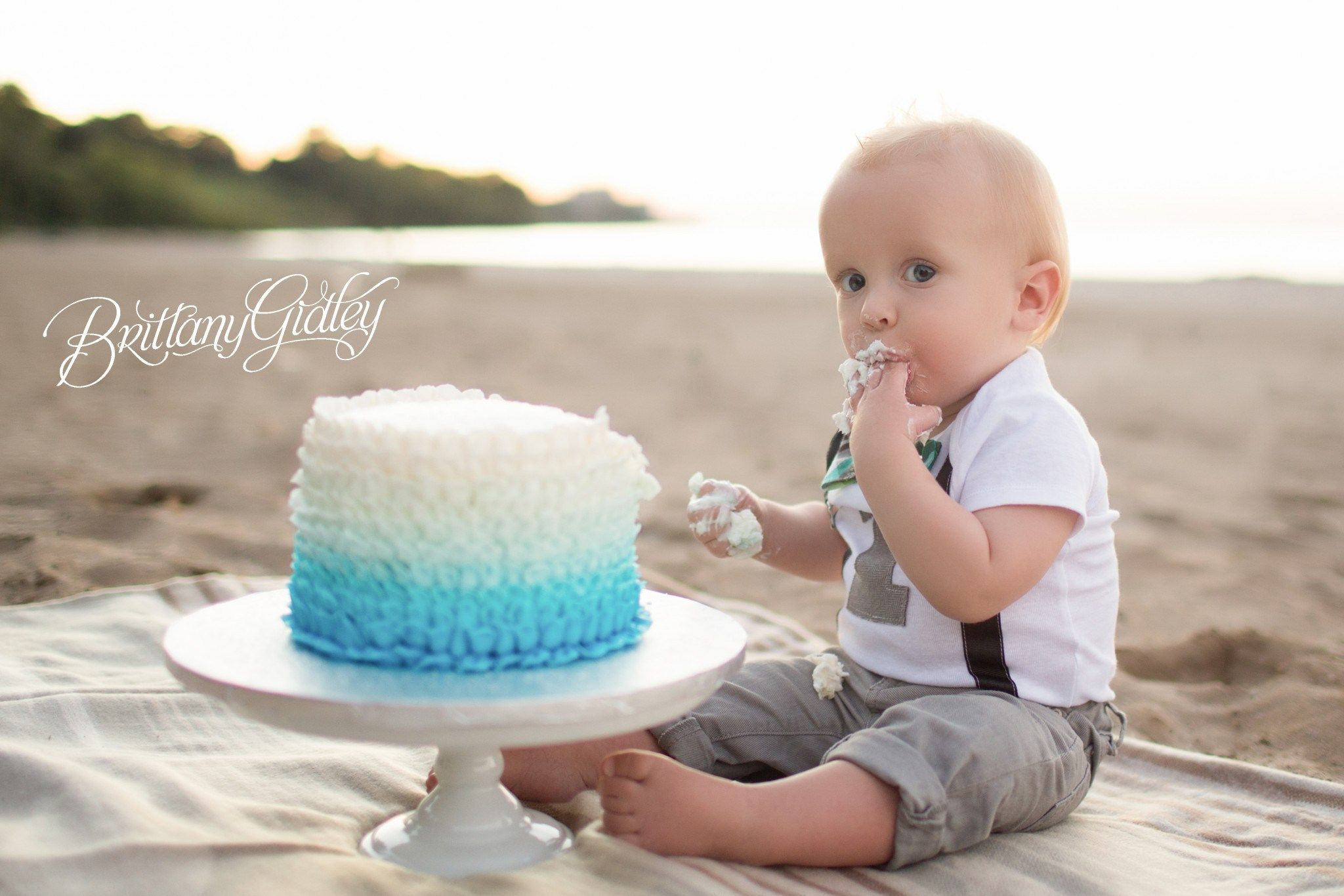Best Cleveland Photographer Boys 1st Birthday Cake Beach Cake
