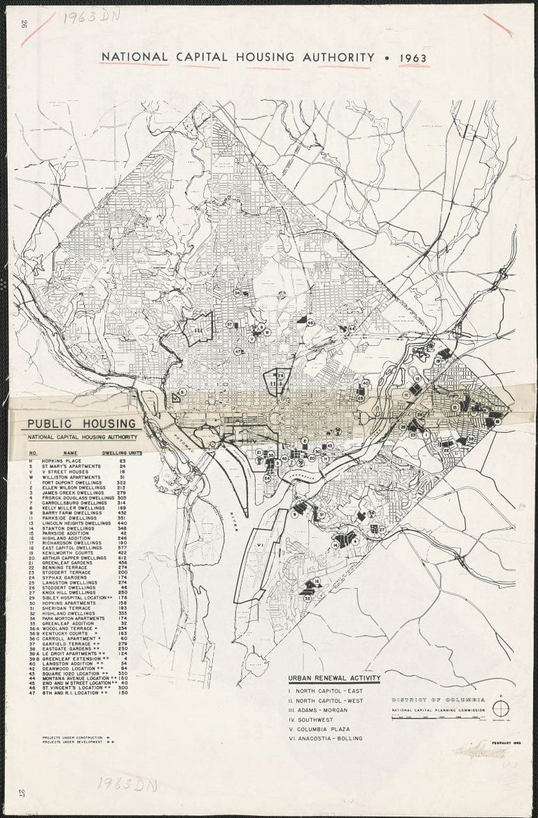 1963 Map Of D C Public Housing In 2020 Map Public Vintage World Maps
