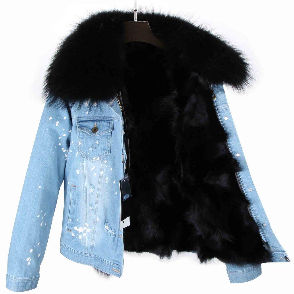 Distressed Denim Jacket With Black Fur Lining And Collar Denim Jacket With Fur Fur Jean Jacket Distressed Denim Jacket [ 1024 x 1024 Pixel ]