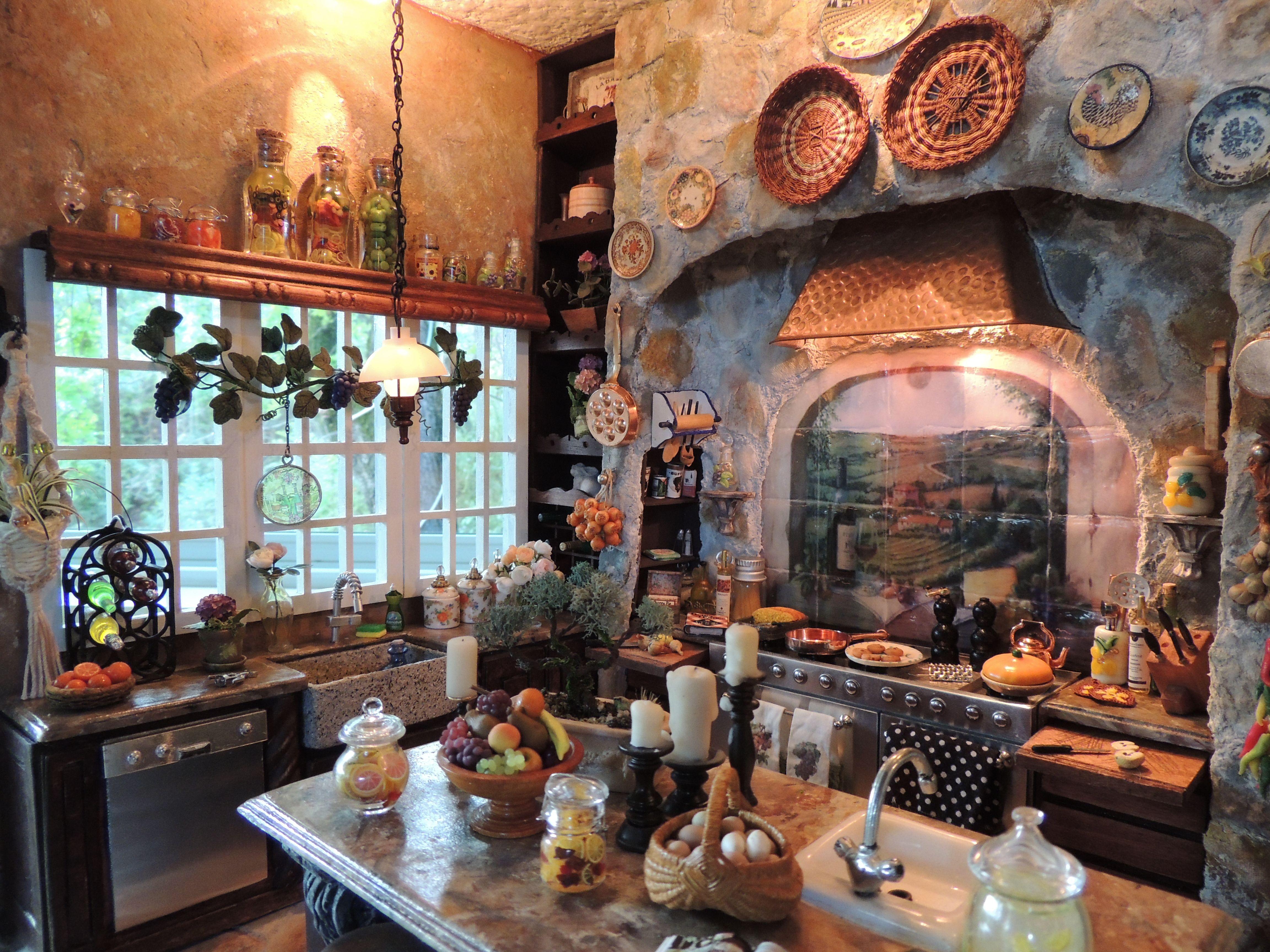 Kammys Creations My Miniature Tuscan Kitchen Roombox 1 12 Wunderbare Puppenstuben