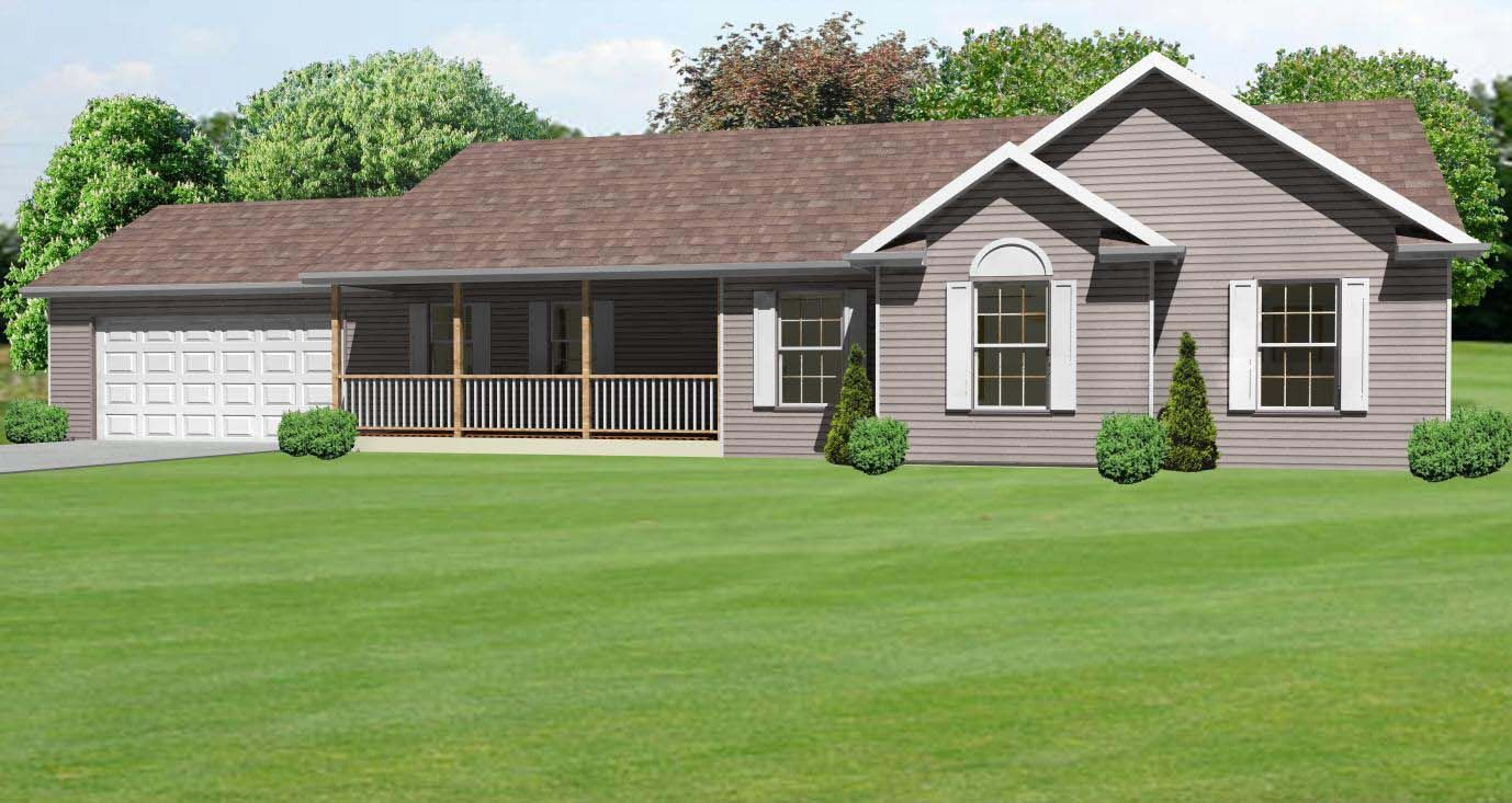 Front porch ranch house 1662 sq ft ranch house plan with for Ranch homes