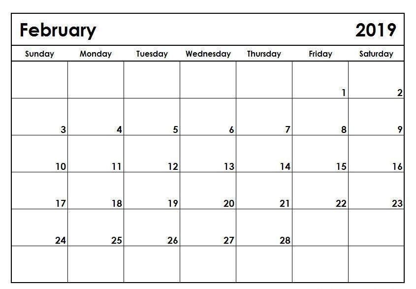 February 2019 Printable Calendar #February #February2019