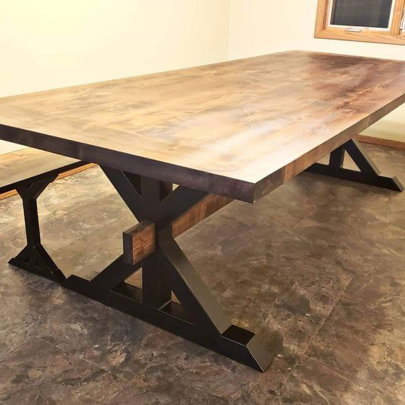 Dining Table Rustic Kitchen Metal Legs Solid
