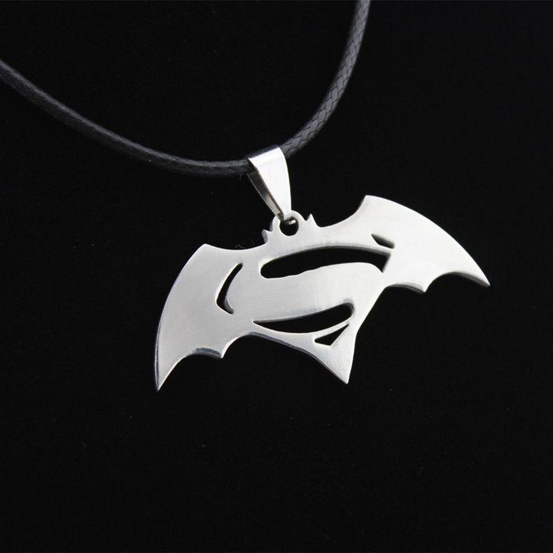 New Fashion Hero Batman Superman Symbol Stainless Steel Pendant