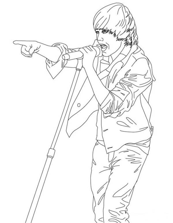 Justin Bieber Live In Concert Coloring Page Netart Di 2020