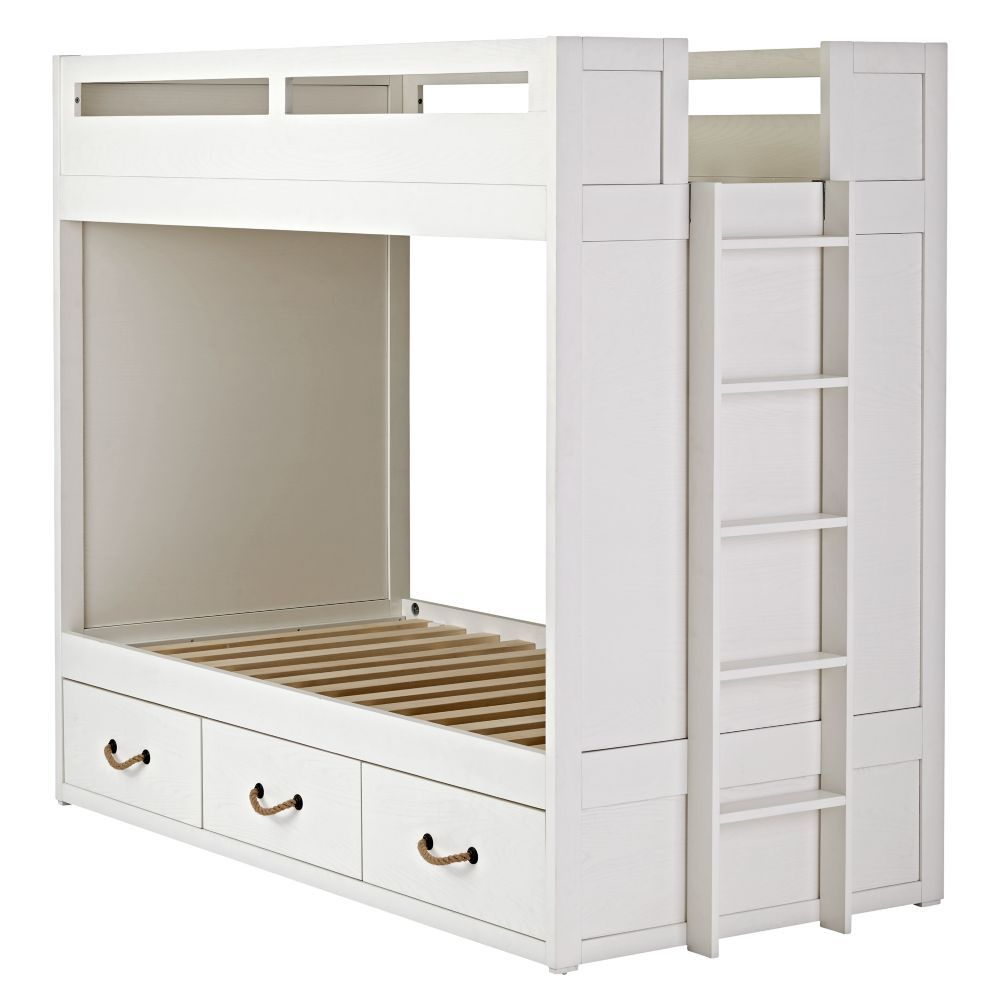 Topside White Bunk Bed With Storage The Land Of Nod Bunk Beds White Bunk Beds Twin Bunk Beds