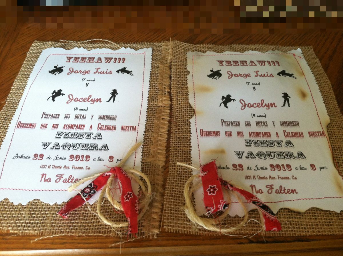 Cowboy party invitations – Cowgirl Party Invites