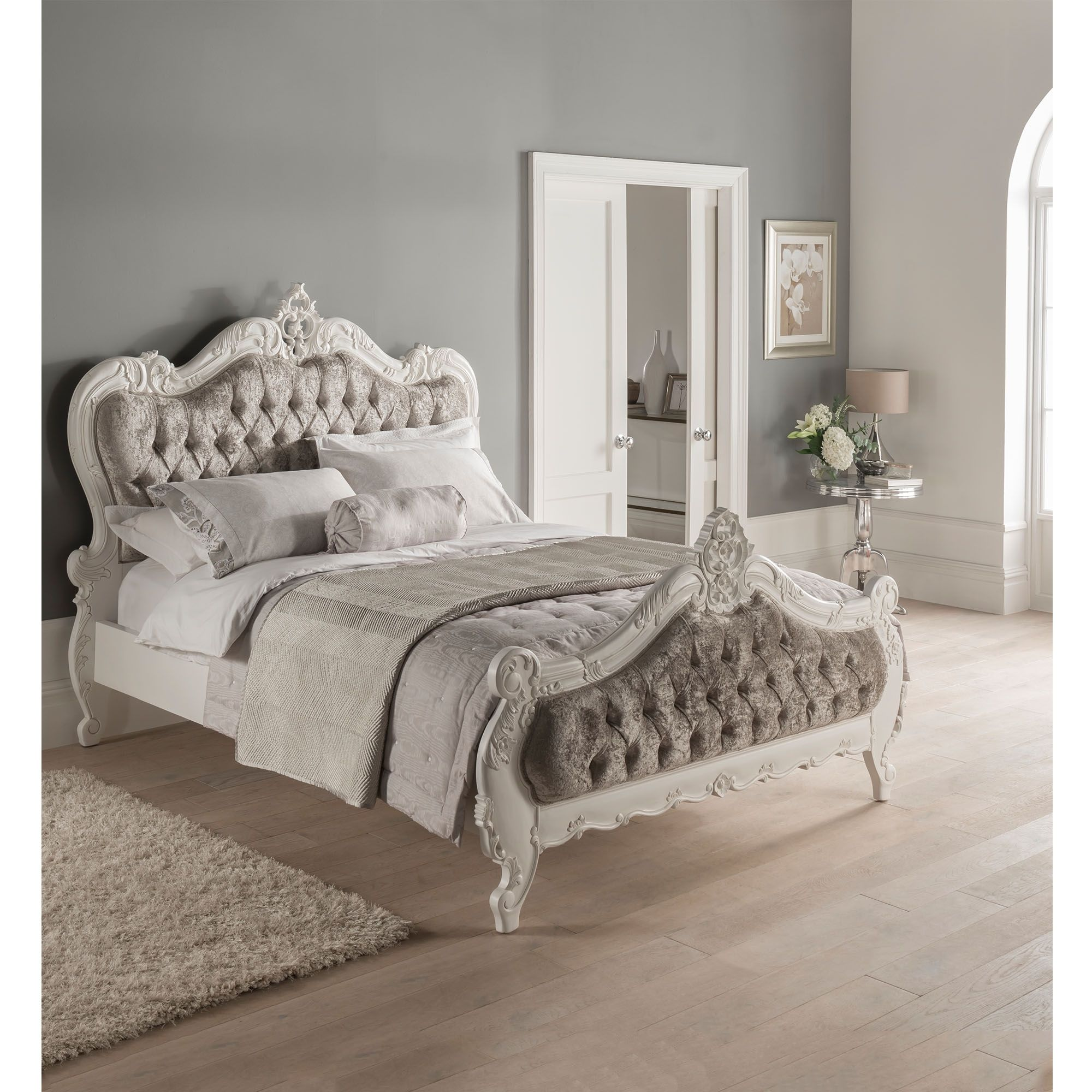 Best Crushed Velvet Antique French Style Bed Bedroom 400 x 300