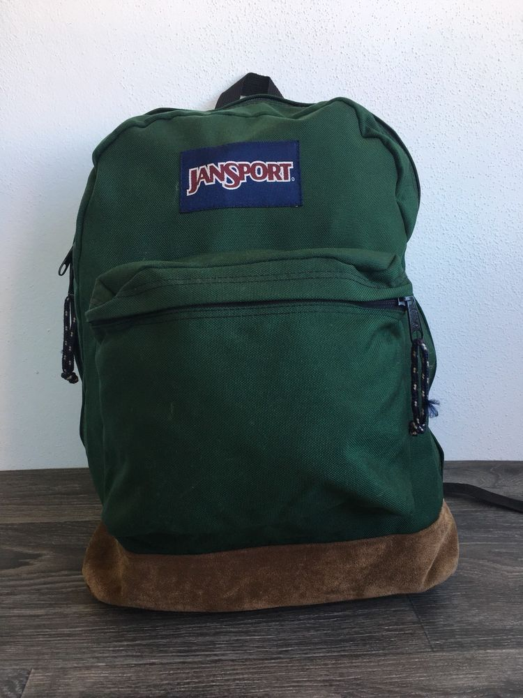 547c860821d6 JANSPORT Backpack Vtg 90s Leather Bottom School Book Bag USA Green 2-Pocket   JanSport  Backpack