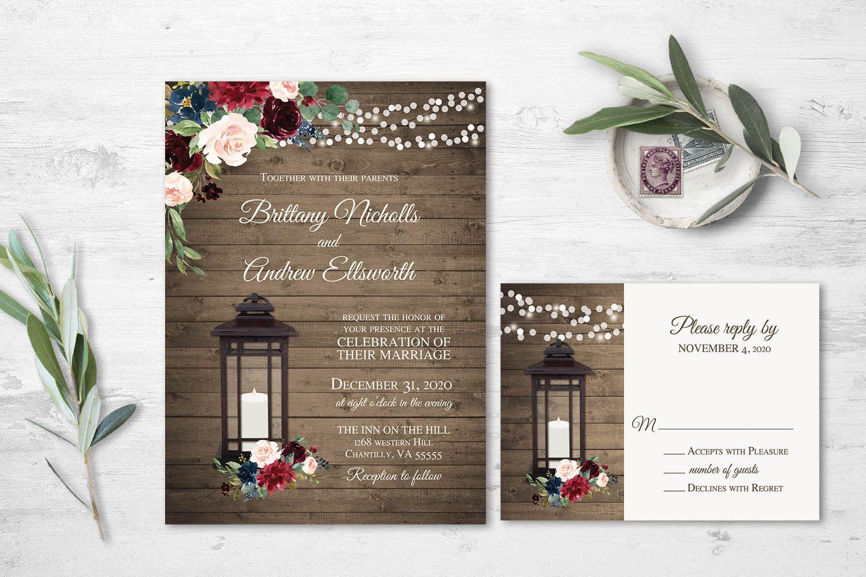 Rustic Fall Wedding Invitation,White Pumpkins,Greenery,Paper Lanterns,Barn Wood,Personalize,Printed Invitation,Wedding Set,Envelope