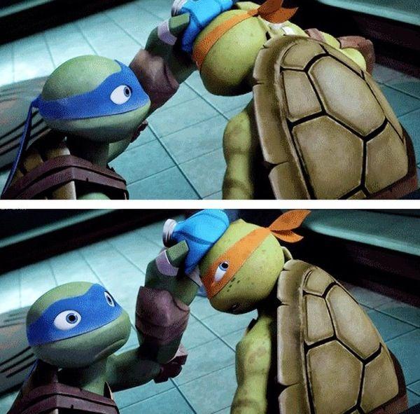 TMNT Mikey and Leo Aaaww! ^^ | TEENAGE MUTANT NINJA TURTLES | Ninja
