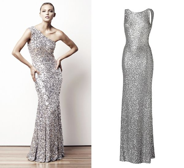 This One Shouldered Rachel Gilbert Gown Would Be Perfect For A New Year S Eve Wedding Right Jenny Packham Designed Silver Sequin