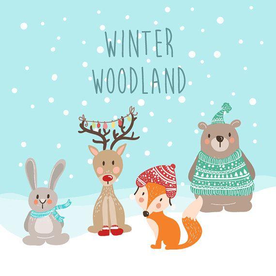 Winter Woodland Animals Clip Art Winter By Anietillustration Winter Woodland Woodland Animal Birthday Winter Art