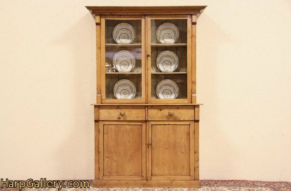 Scottish 1860 Antique Country Pine Cupboard, Wavy Glass Doors - Harp Gallery Antique Furniture