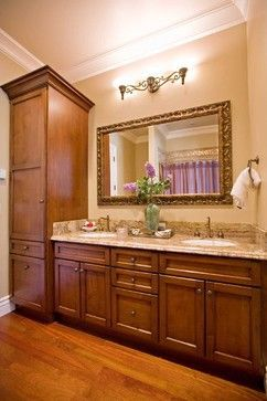Gorgeous Double Vanity With Center Tower For Extra Storage By