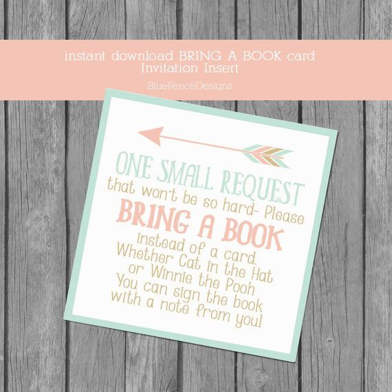 Adventure Themed Bring A Book Card Insert, Baby Shower Invitation Insert,  Book Instead Of
