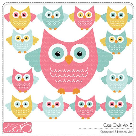 Cute Owls vol 5 - Digital Clip Art , Commercial Use Clipart ...