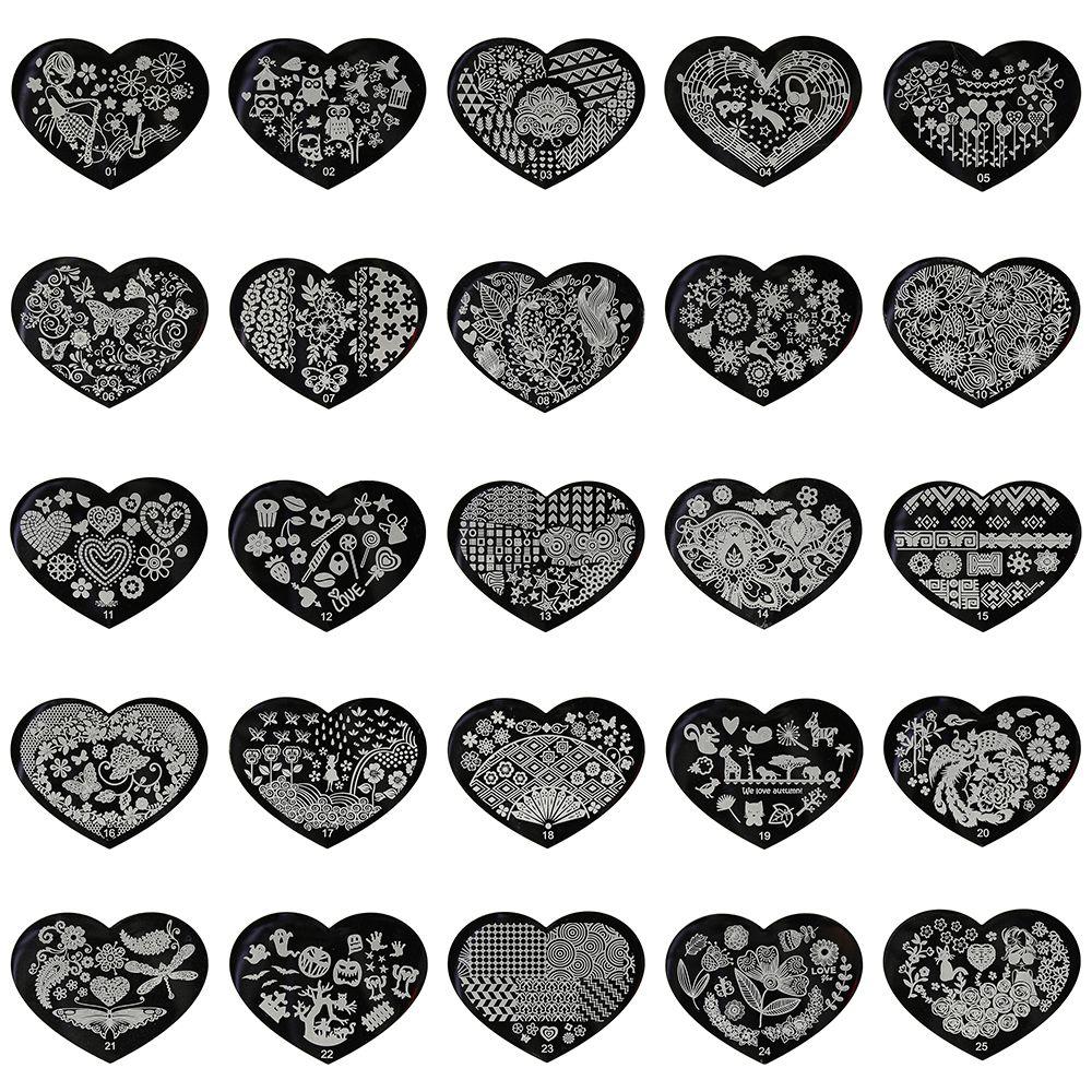 5,6*7,15 cm Liebe Herz 3D Nail art Stamping Platten 28 Designs Edelstahl Polnischen Vorlage 1 Stücke Schablonen für Nägel JH305