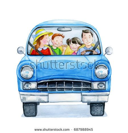 Happy cartoon family driving in a blue car. Watercolor illustration. Hand drawn.