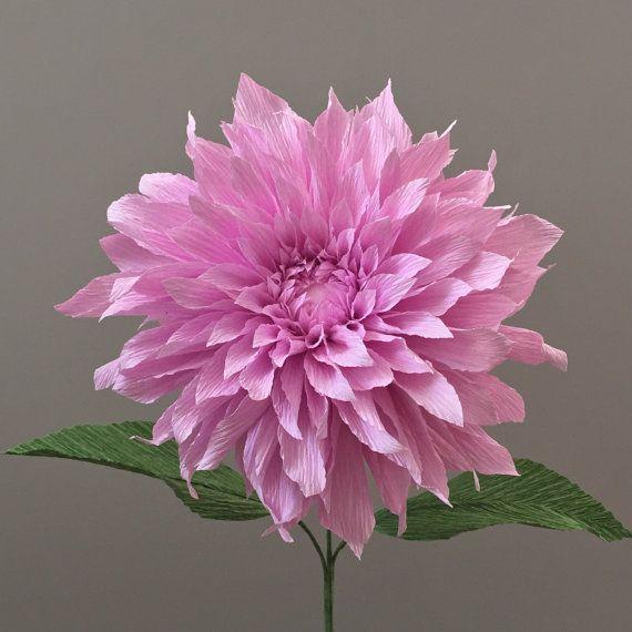 Crepe Paper Dahlia Single Stem Wedding Flowers By Nectarhollow