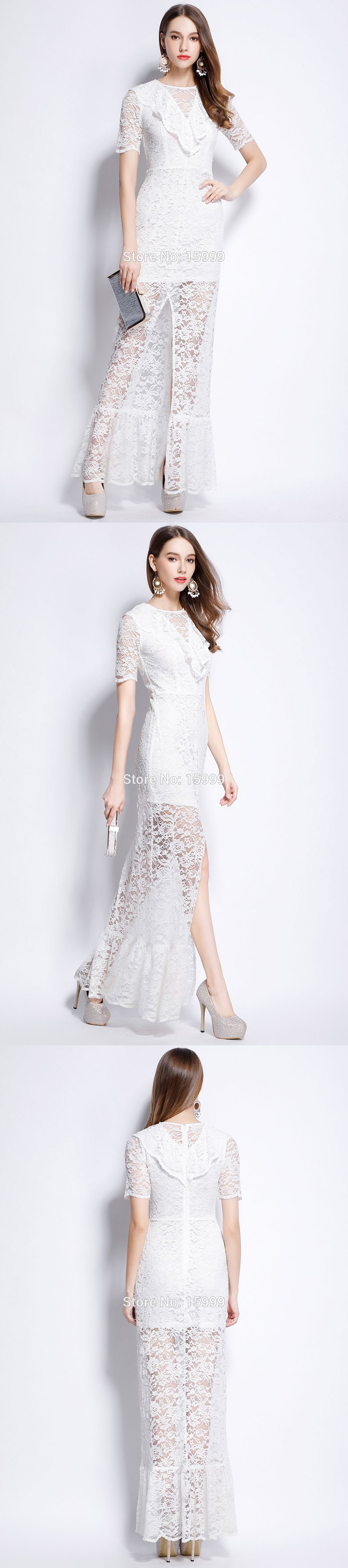 White lace wedding dress with short sleeves  New white lace high slit short sleeves prom ball women long ruffles