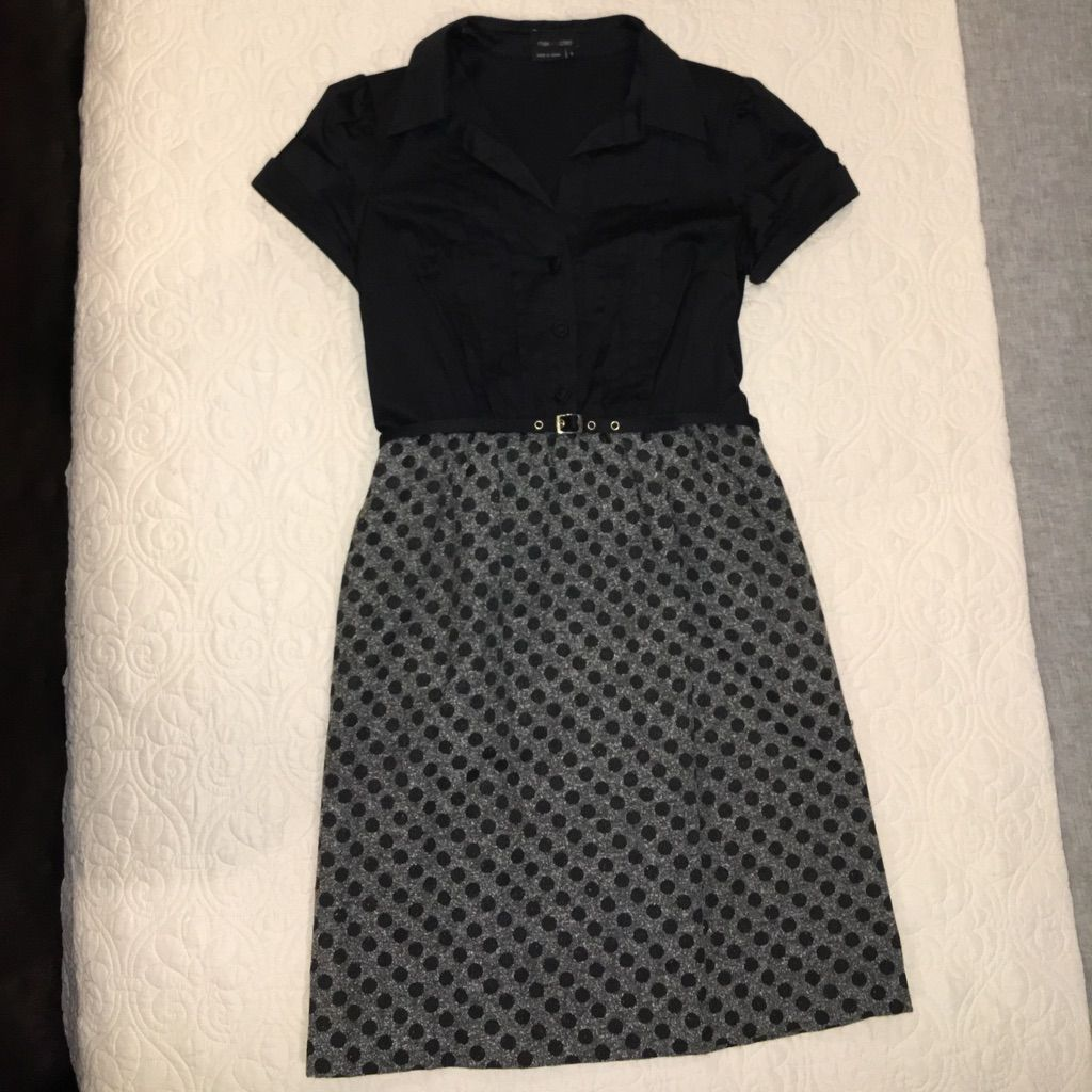 Max And Cleo Black And Gray Button Top Dress
