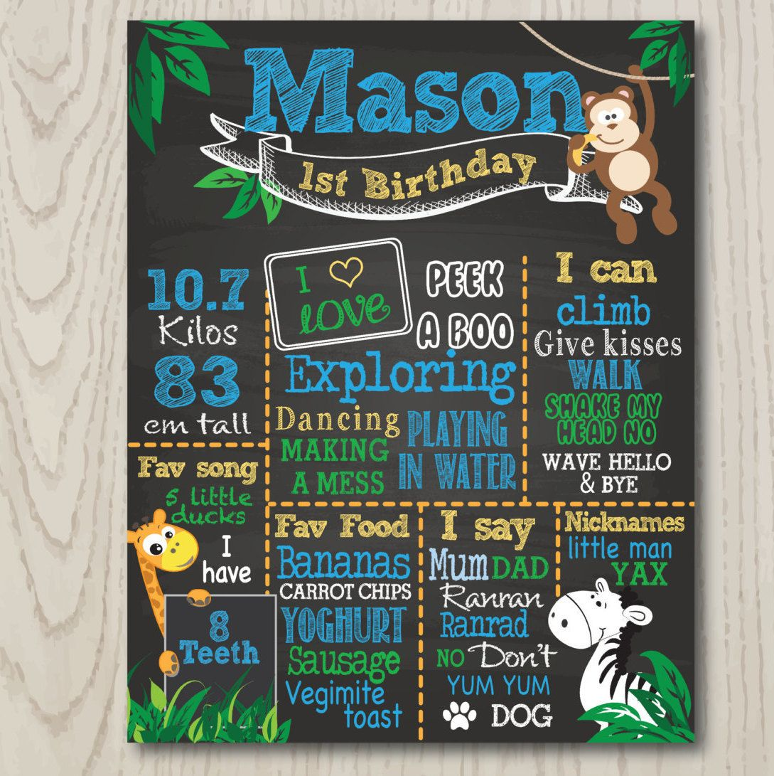 Birthday Board Jungle Theme, Animals,First Birthday