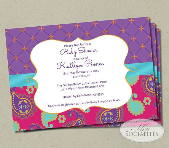 Moroccan Baby Shower Invitation | Fuchsia U0026 Purple | Paisley Baby Shower  Invitation, Birthday, Moroccan Bridal Shower, | Instant Download