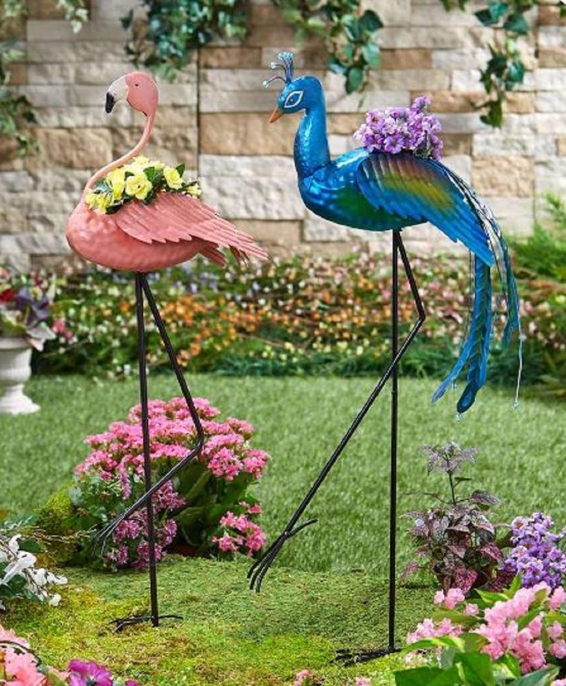 Flamingo or Peacock Lawn Ornament Flower Planter Collectible Home ...