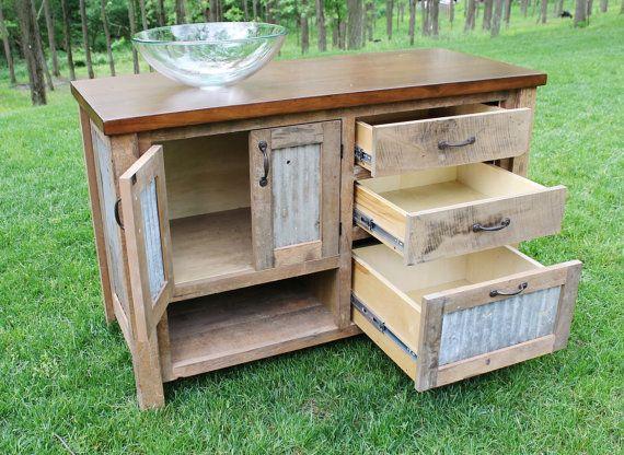 Custom rustic vanity reclaimed barn wood w barn tin for 24 reclaimed wood vanity
