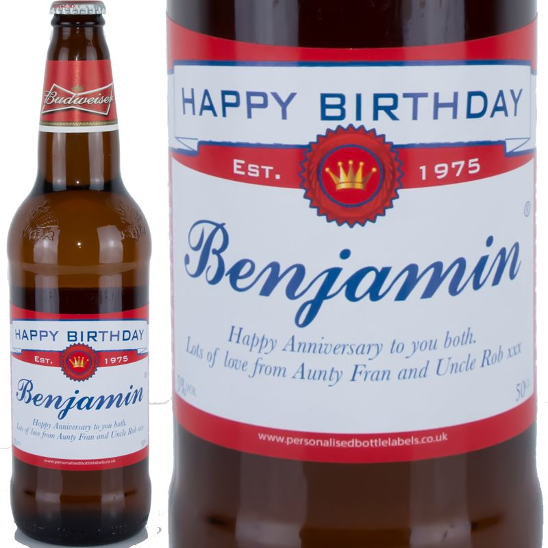 Birthday//Wedding Gift Novelty Personalised Beer//Lager Bottle Labels Bud