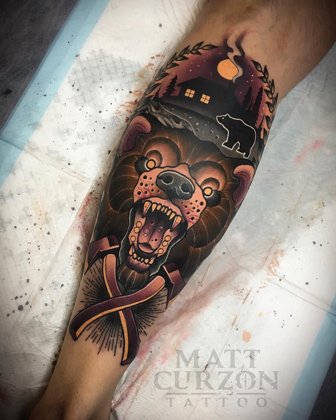 Color Tattoo By Matt From Black Sails Tattoo: Sailor Fisherman Old Man Neotraditional New School Color