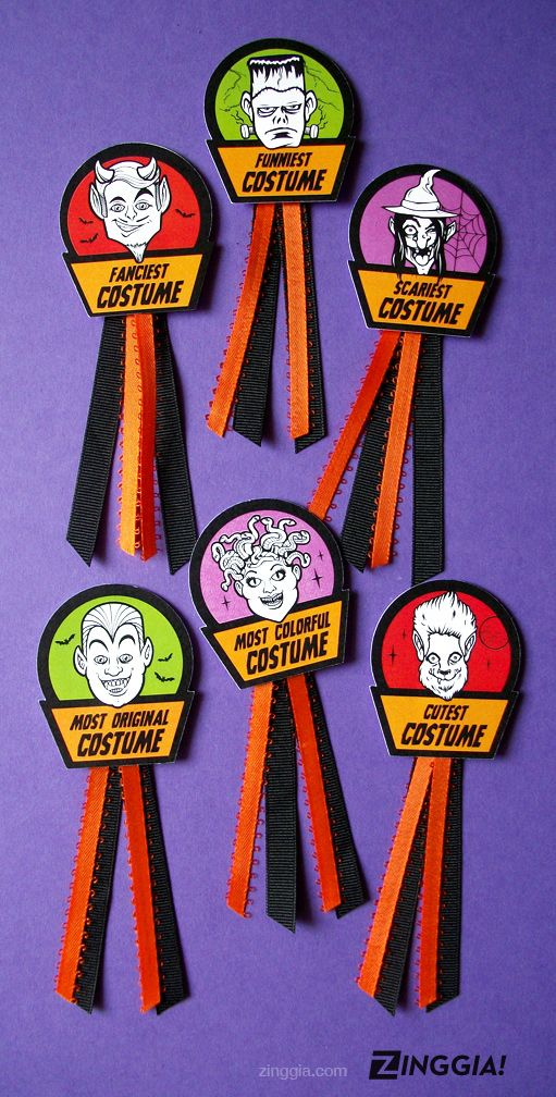 halloween costume award badges cute monster prize and contest