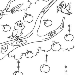 Little Girl And Happy Apple Tree Coloring Page