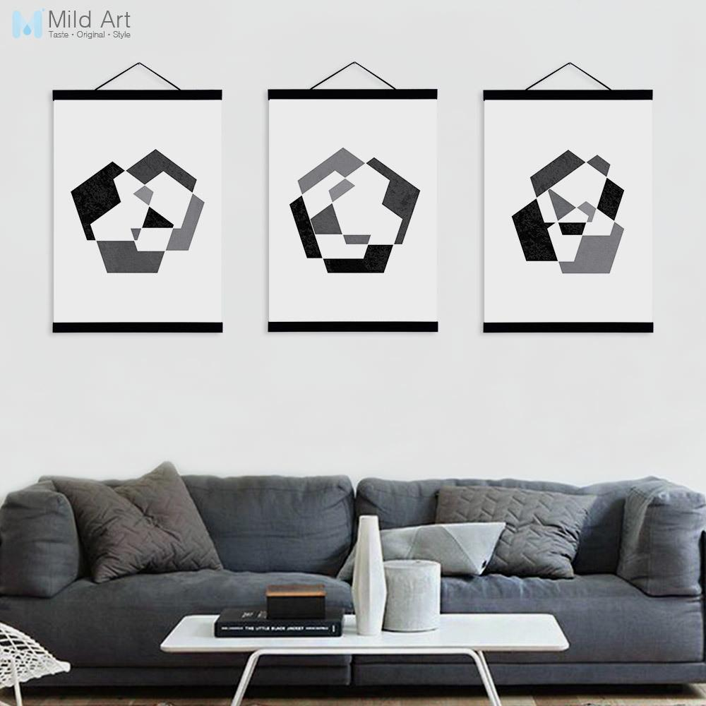Modern abstract black white geometric shape wooden framed canvas