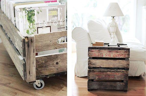 Propuestas anticrisis; trasnforma cajas de madera en muebles  Mesas
