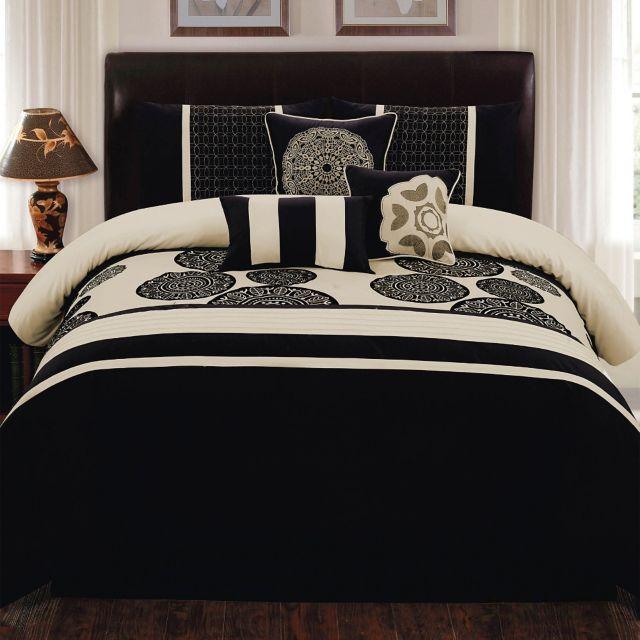Biatta 7 Piece King Comforter Set In Black Ivory Comforter Sets