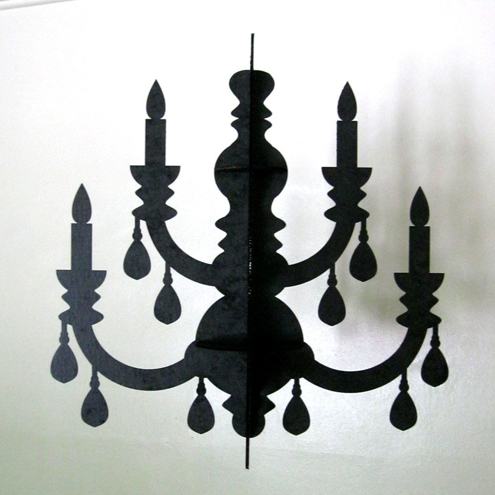 Black Chandelier Eco Laser Cut Cardboard Decoration 40 00 Via