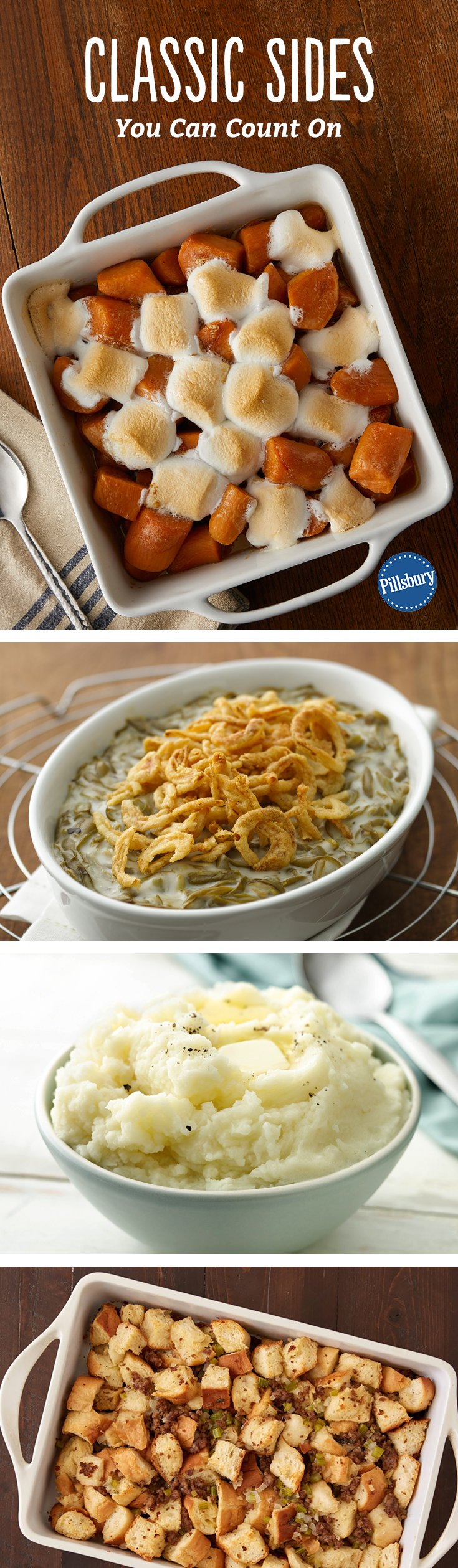 There's a reason why people hold near and dear to the classics: they're tried and true and easy to do! From sweet potatoes to green bean casserole and classic stuffing, you're going to want these recipes for your go-to Turkey Day sides.