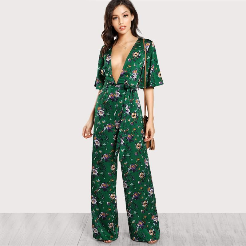 7b0a1d4eeed6 Flower Power Green Floral Deep V Wide-Leg Jumpsuit in 2019 | Fashion ...