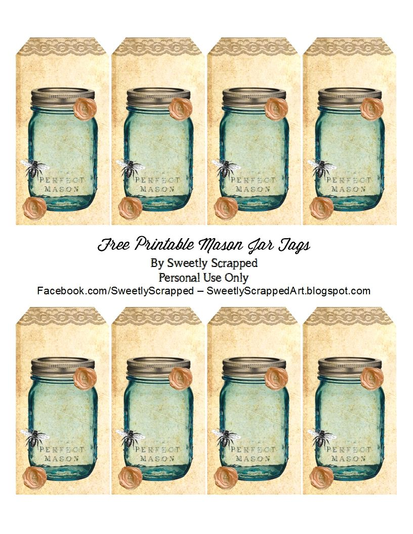 Sweetly Scrapped: Free Printable Blue Mason Jar tags, With Bee and ...