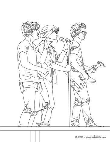 Jonas Brothers Singing Coloring Page More Famous People