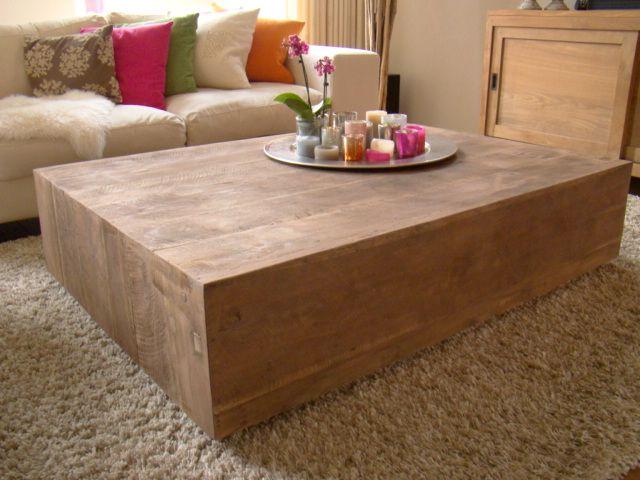 Salon Tafel Hout : Salon blok salontafel recycle teak hout maatwerk tafels