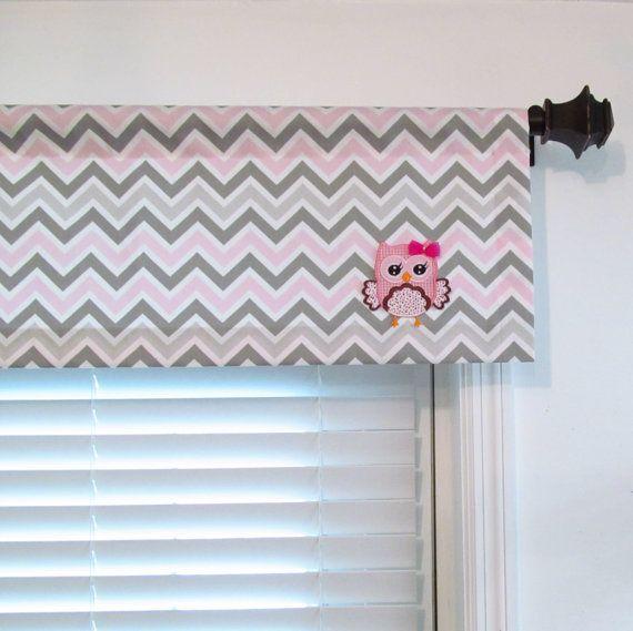 Owl Valance Baby S Nursery Curtain Pink Gray White Chevron