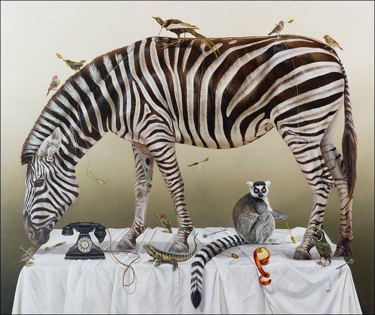 Kate Bergin #art #painting #animal #wild #surreal #tablesetting #zebra